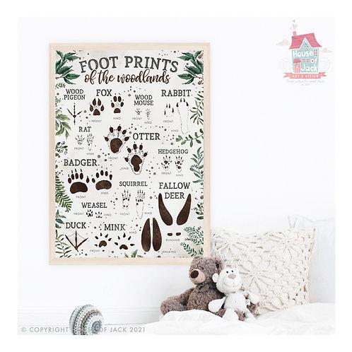 Wild Woodland Footprints Art Print