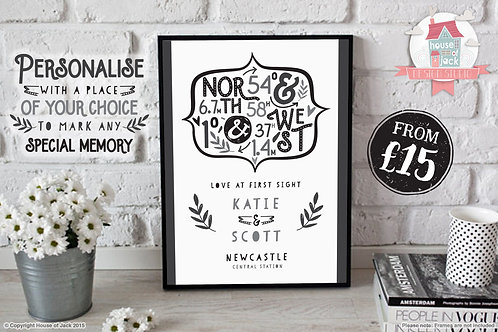 Co-ordinates Special Place Personalised Art Print