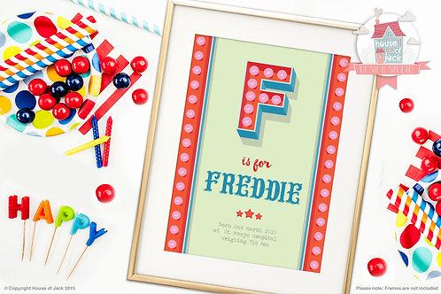 """Circus Initial """"F"""" Personalised Art Print"""