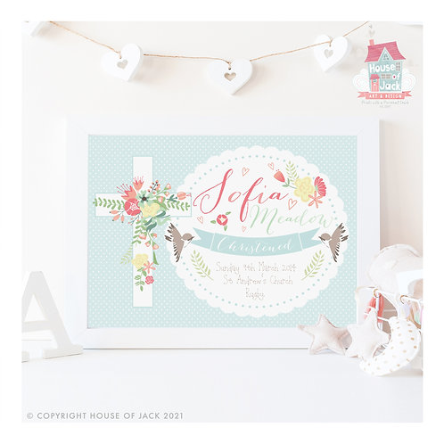 Christening Personalised Art Print
