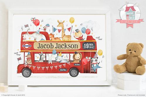 "Animal Birth Details ""London Bus"" Personalised Art Print"