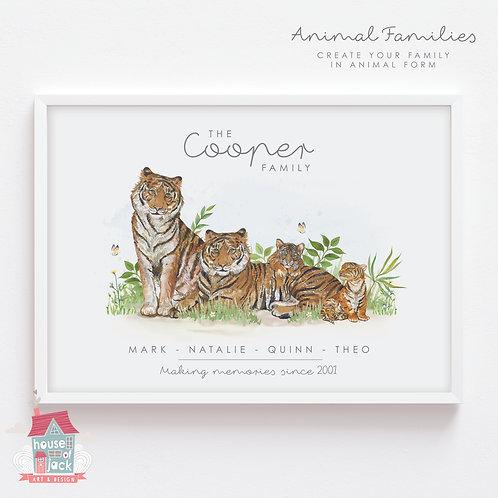 Tiger Animal Family Portrait Personalised Art Print
