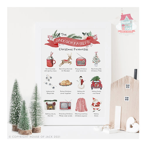 Christmas Family Favourites Personalised Art Print