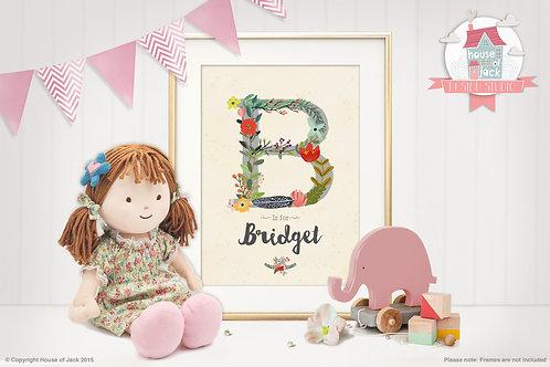 """Floral Initial """"B"""" Personalised Art Print"""