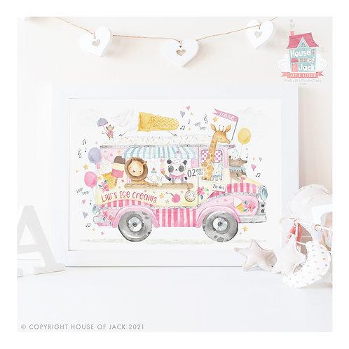 "Animal Birth Details ""Ice Cream Van"" Personalised Art Print"