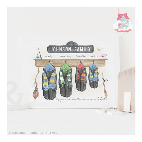 Potter House Team Robes Personalised Art Print