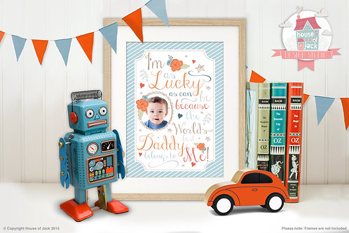 """""""Lucky Boy"""" Personalised Art Print"""