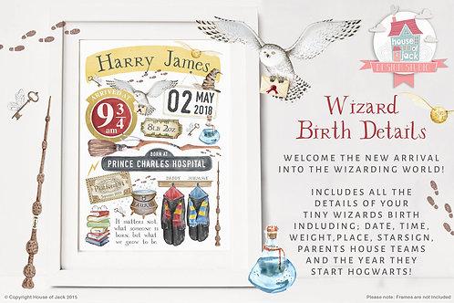 Wizard Birth Details Personalised Art Print