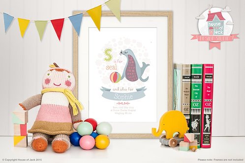 "Animal Alphabet ""S"" Personalised Art Print"