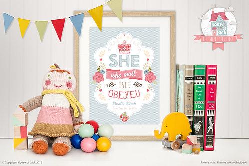 She Personalised Art Print