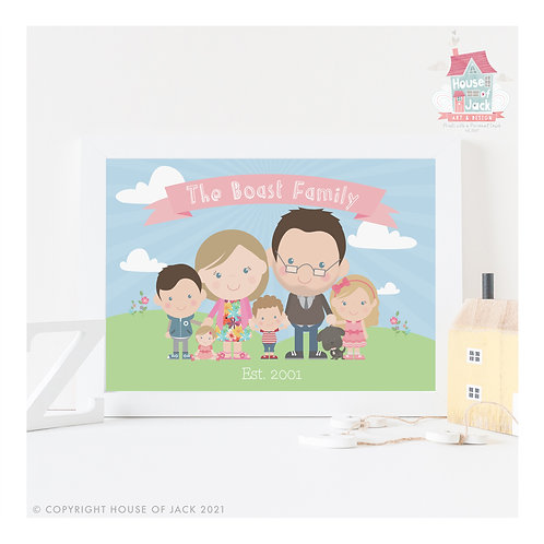 Jelly Tot Scenic Family Portrait Personalised Art