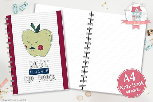 Best Teacher Male Personalised A4 Notebook