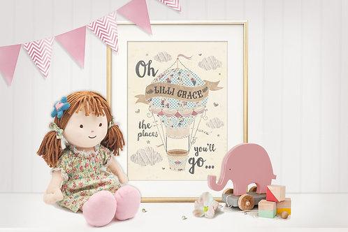 """Balloon Girl"" Personalised Art Print"