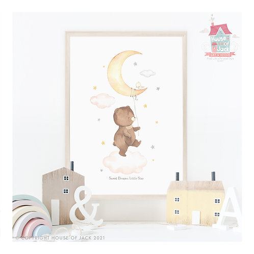 Star Bear Sweet Dreams Personalised Art Print