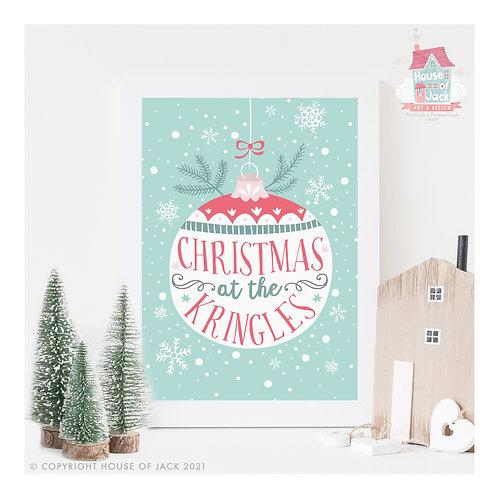 Christmas At The... Personalised Art Print
