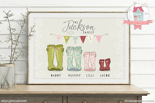 Family Footprints (Wellies) Personalised Art Print