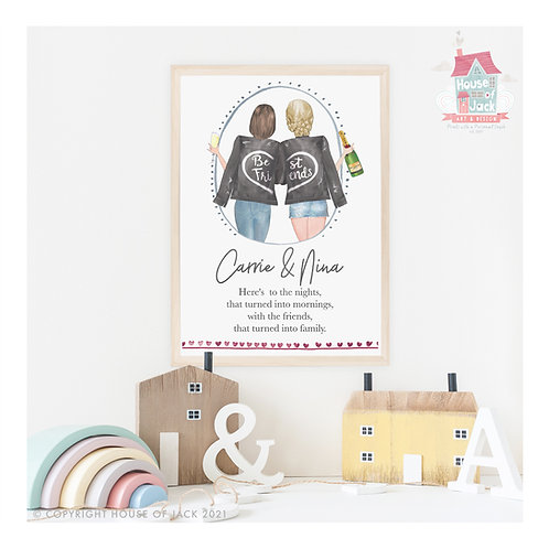 Best Friends Personalised Art Print
