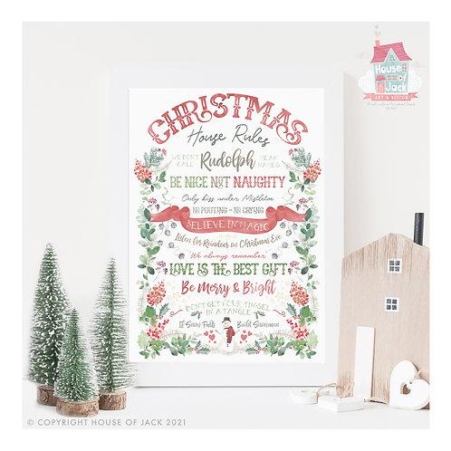 Christmas Watercolour Christmas House Rules - Art Print