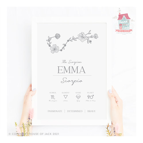 Floral Zodiac Constellation Personalised Art Print