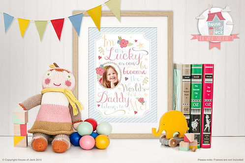 """Lucky Girl"" Personalised Art Print"