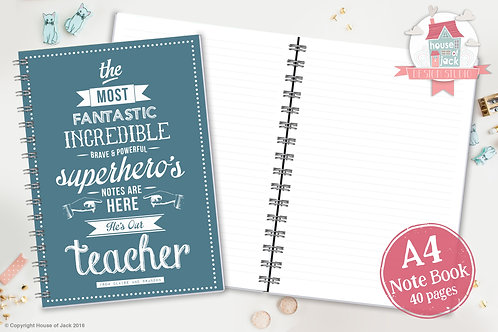 Superheo Teacher Personalised A4 Notebook