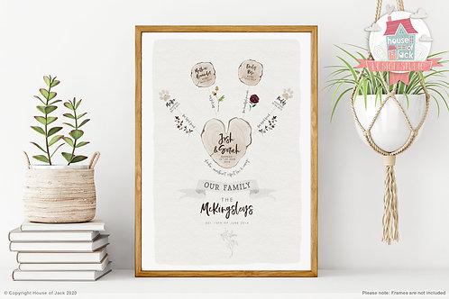 Watercolour Family Tree (Heart) Personalised Art Print