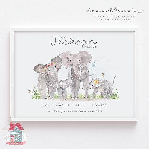 Elephant Animal Family Portrait Personalised Art Print