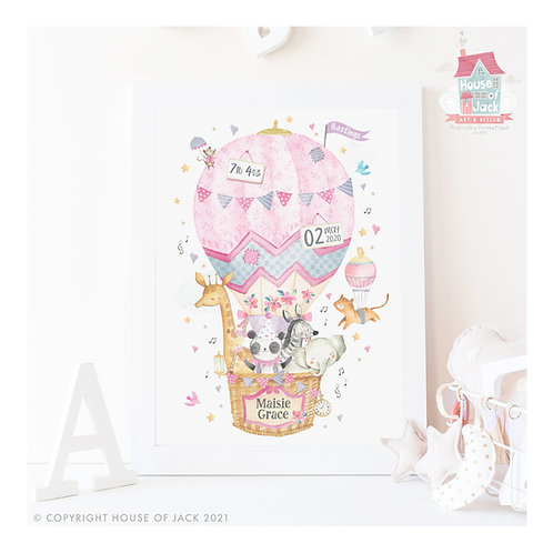 "Animal Birth Details ""Air Balloon"" Personalised Art Print"