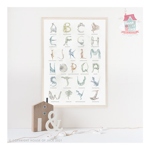 Watercolour Dinosaur Alphabet Art Print