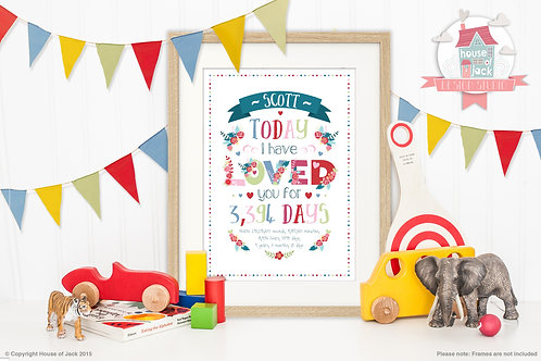 Loved you For Personalised Art Print