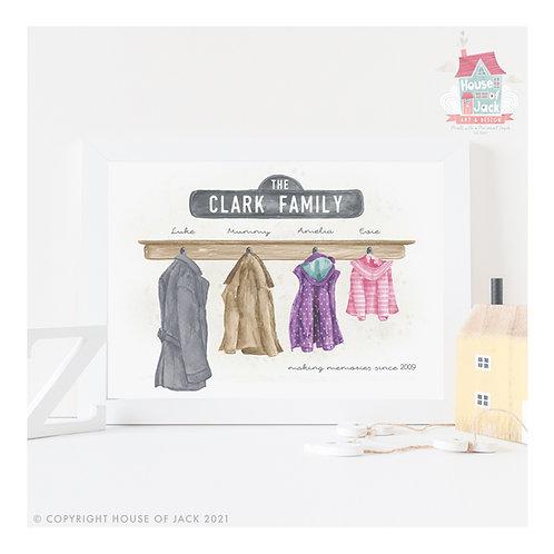 Watercolour Family Coats Personalised Art Print