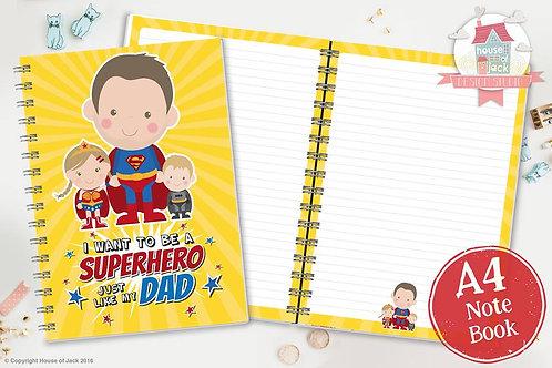 Superhero Dad Personalised A4 Notebook