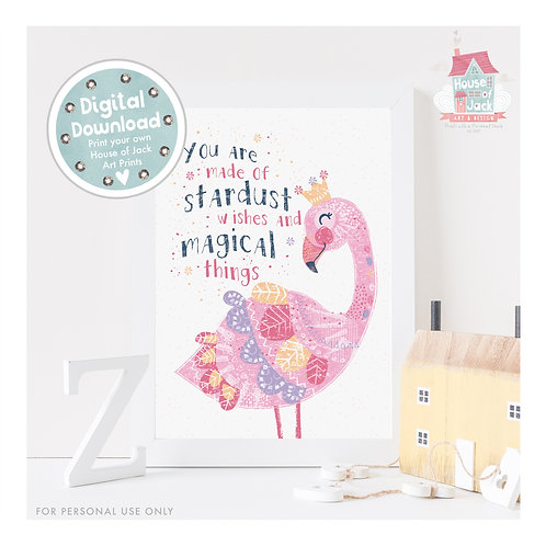 Magical Flamingo Digital Art Print