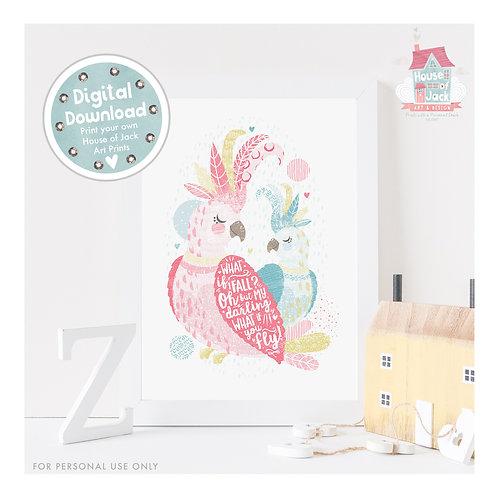Tropical - Cockatoos Digital Art Print