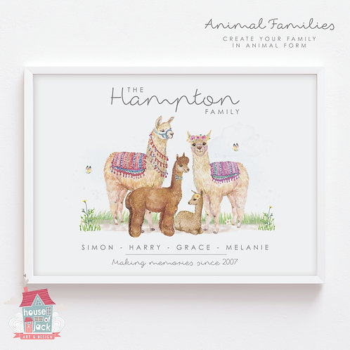 Llama Animal Family Portrait Personalised Art Print