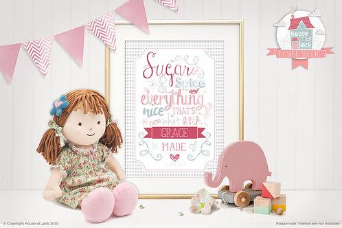 """Sugar & Spice"" Personalised Art Print"