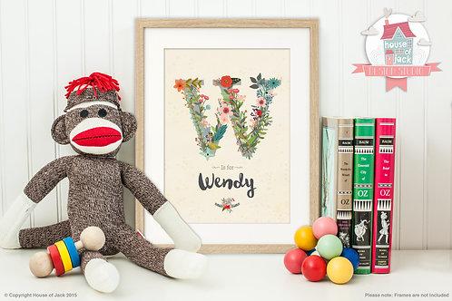"Floral Initial ""W"" Personalised Art Print"