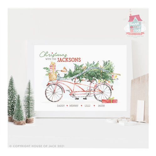 Family Christmas Bike Ride Personalised Art Print