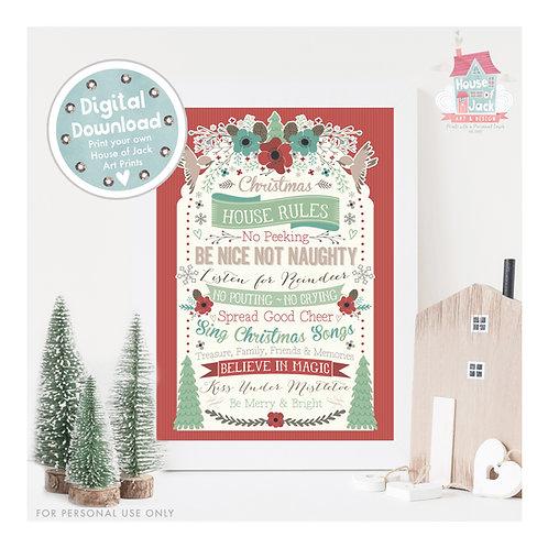Christmas House Rules Digital Art Print