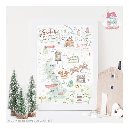 Santa'a Map Personalised Art Print