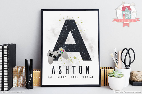 Gamer Initials Art Print