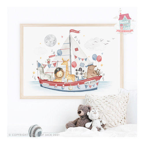 "Animal Birth Details ""Animal Boat"" Personalised Art Print"