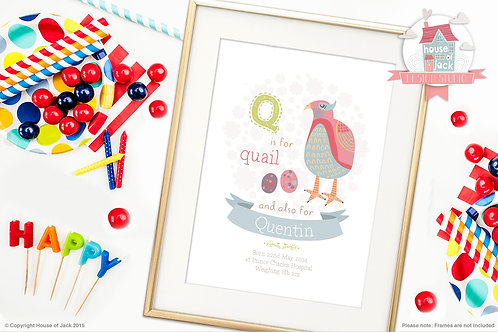 "Animal Alphabet ""Q"" Personalised Art Print"