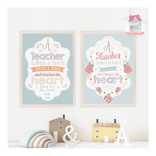 A Teacher Personalised Art Print