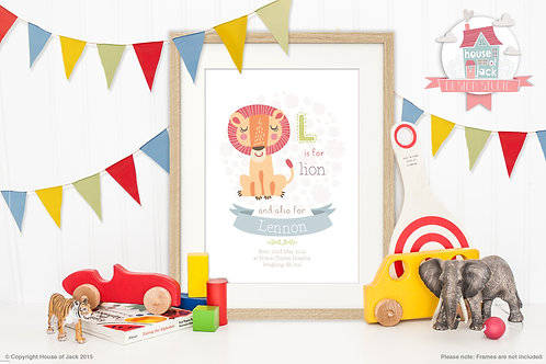 "Animal Alphabet ""L"" Personalised Art Print"