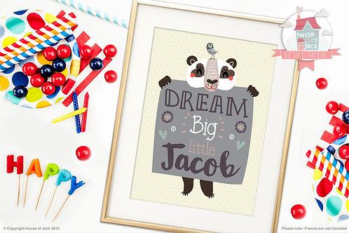 Dream Big Panda Personalised Art Print