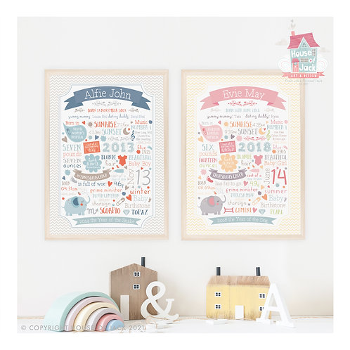 Animal Alphabet Birth Details Personalised Art Print