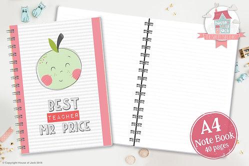 Best Teacher Female Personalised A4 Notebook