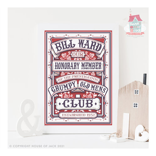 Grumpy Old Mens Club Personalised Art Print