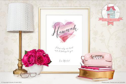 Watercolour Heart Personalised Art Print